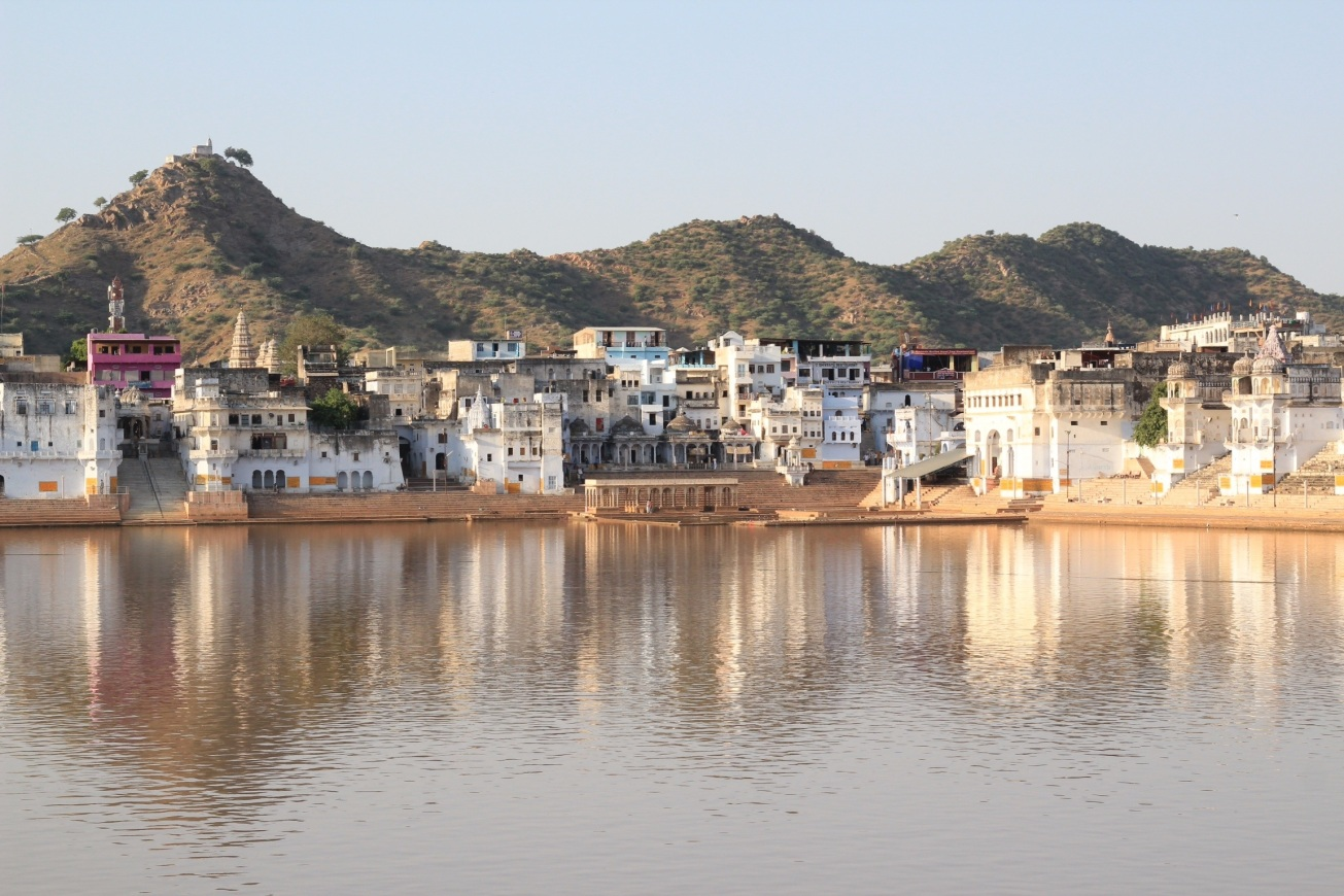 Holy lake and temple in Pushkar, India