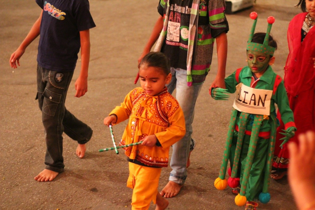 Kids in costume at Indian festival
