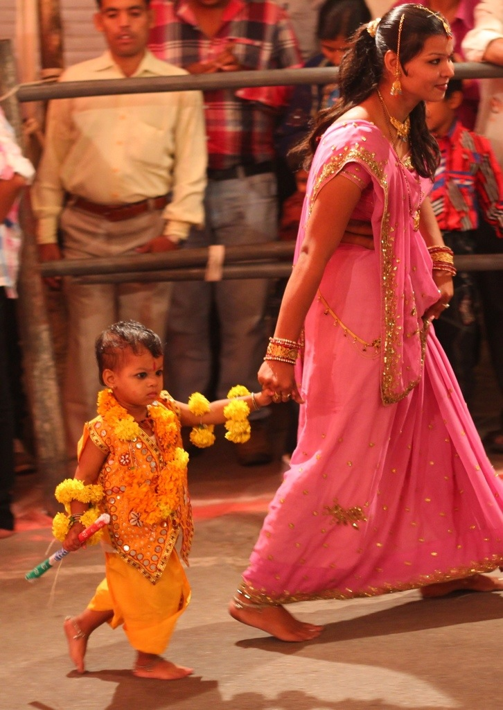 Child and mom at Navratri Festival