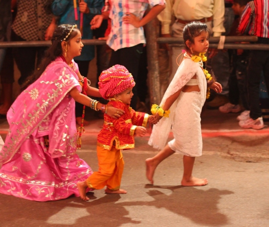 Happy kids at festival in India
