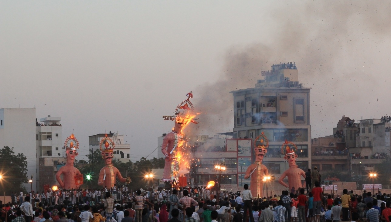 Demon burning Indian festival Jodhpur