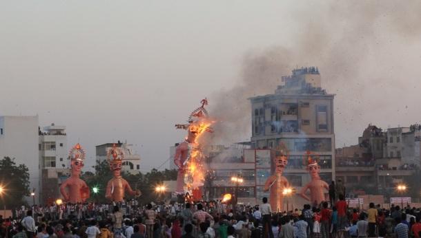 Demon burning Indian festival Jodhpur
