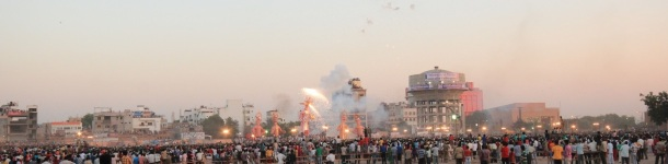Demons being burned at Indian Festival