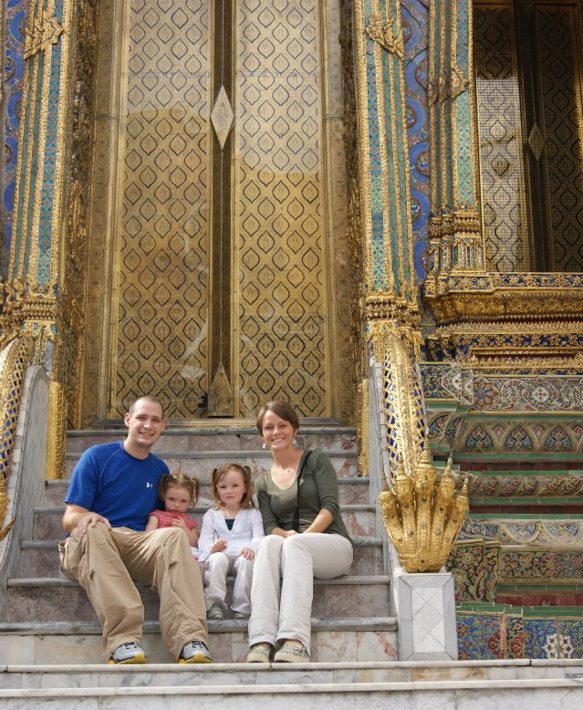 The Bruso family at the Grand Palace.