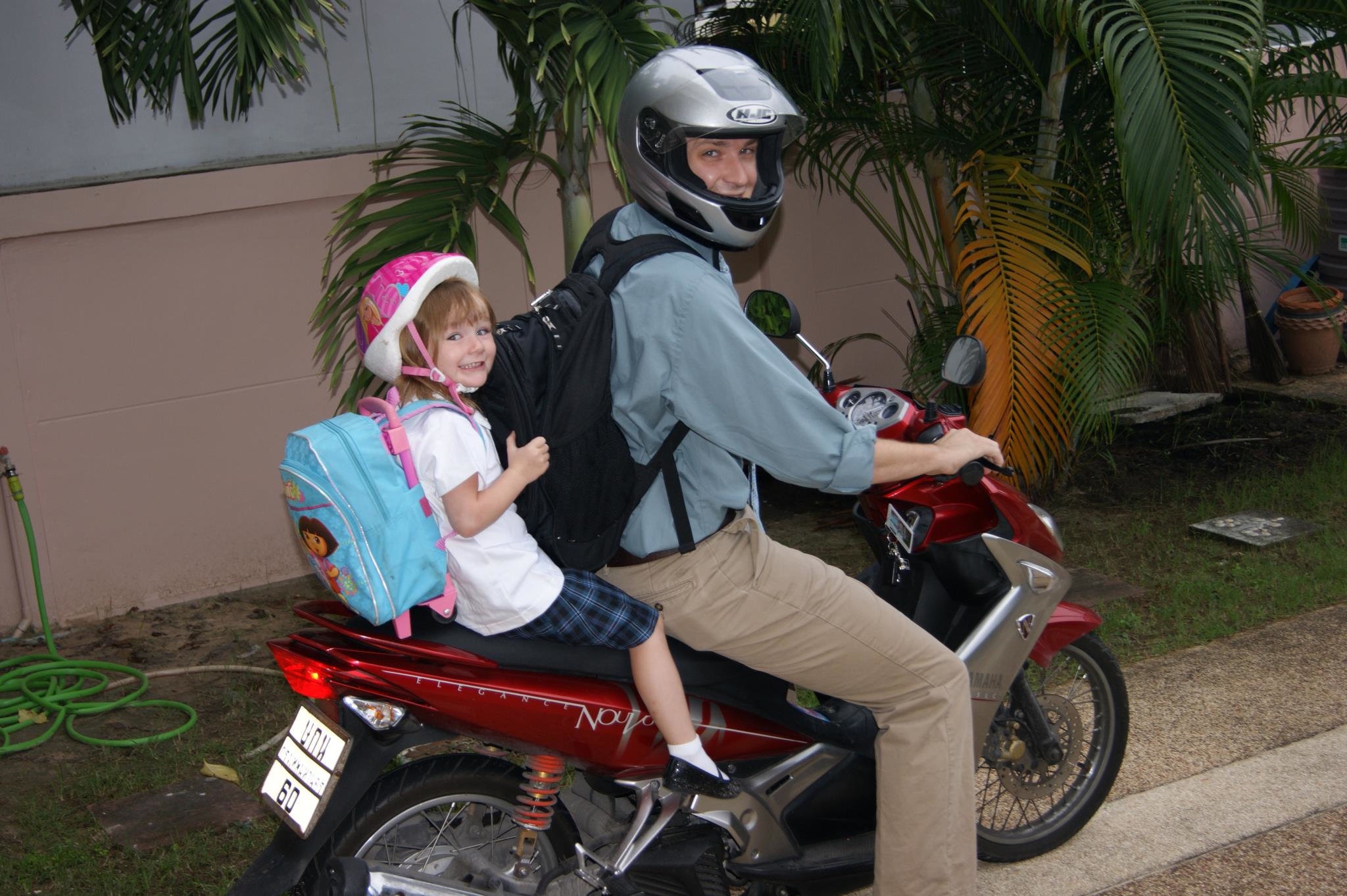 Dominick taking his daughter Giada to school.