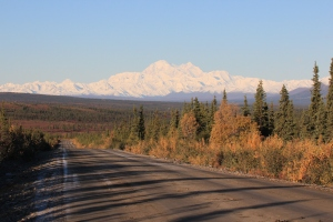 "The Denali Highway with Mt. McKinley in the distance. ""Highway"" is a strong term for the dirt road that cuts through the Alaska Range."