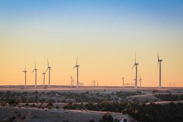 Oklahoma Wind Turbine Sunset
