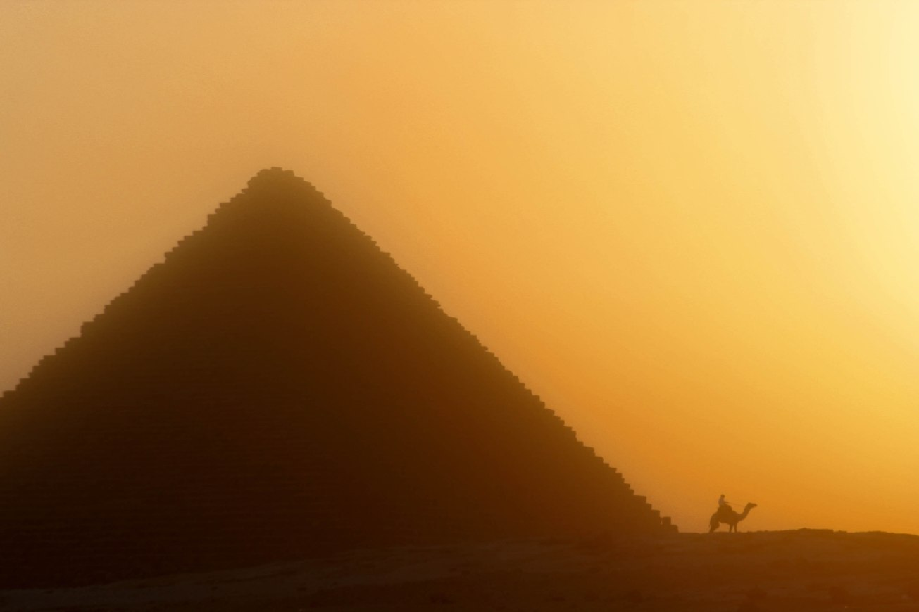 Pyramids of Giza with camel