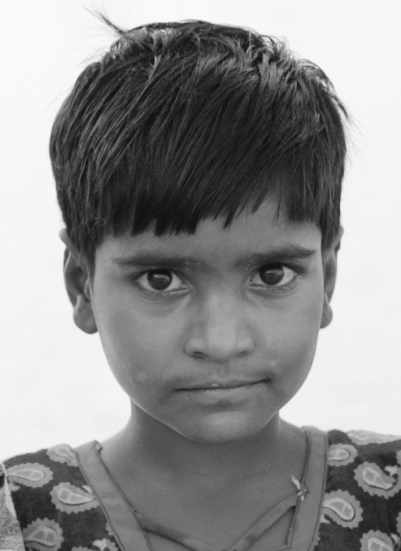 Young girl in pushkar with intense stare