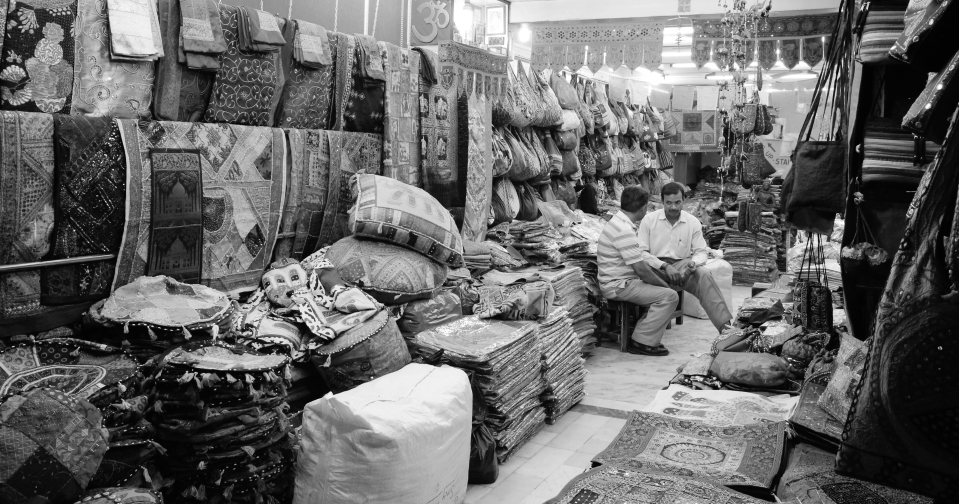 Colorful shop in Delhi in B&W