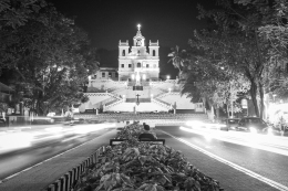 Church in Goa in black and white photo