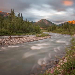 Riley Creek at sunset, shot with a neutral density filter