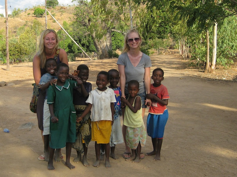 Malawi Children with Tourist