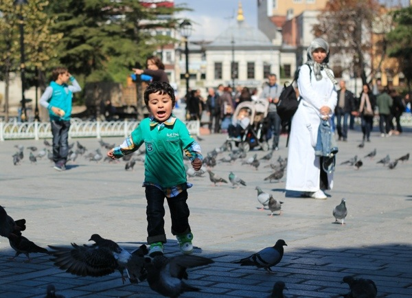 Hippodrome child with pigeons