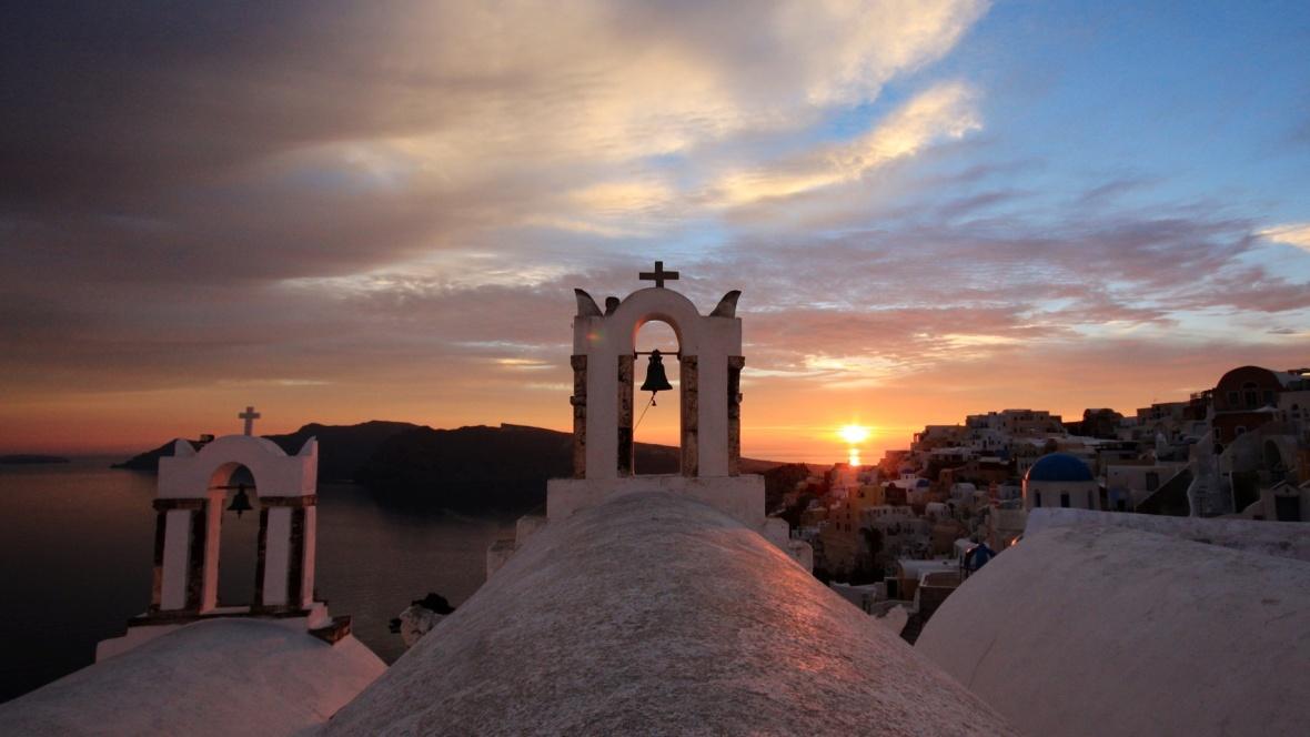 Santorini Sunset Church Bells