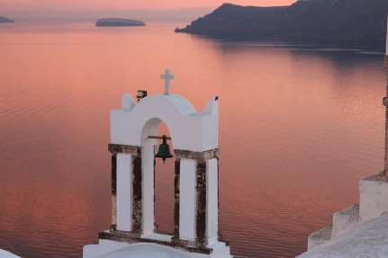 Church Bells Santorini Sunset