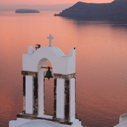 Church Bells Santorini Sunset