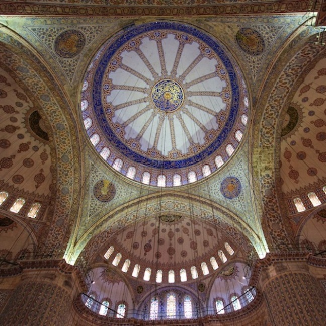 The domed ceiling of the Blue Mosque.