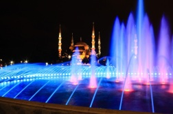 Blue Mosque at Night with Fountain