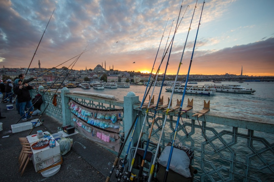 Galata Bridge at Sunset fishing poles