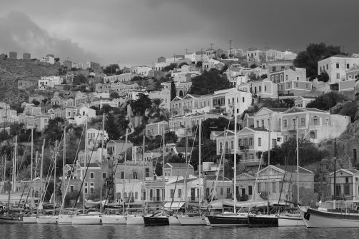 Symi Greece Harbor black and white photography