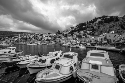 Symi Greece Harbor Black and white