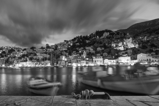 Greece Symi at Night in Black and White