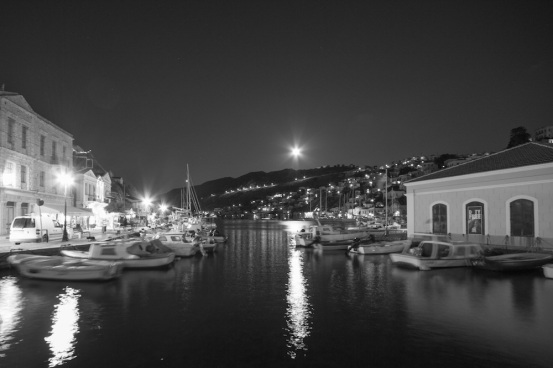 Symi moonrise black white Greece