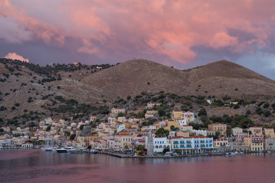 Symi Sunrise with pink sky