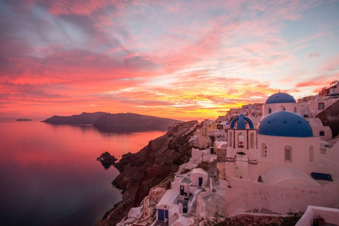 Beautiful sunset over santorini