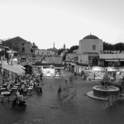 Rhodes at Sunset Black and White