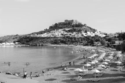 Lindos, Rhodes, black and white
