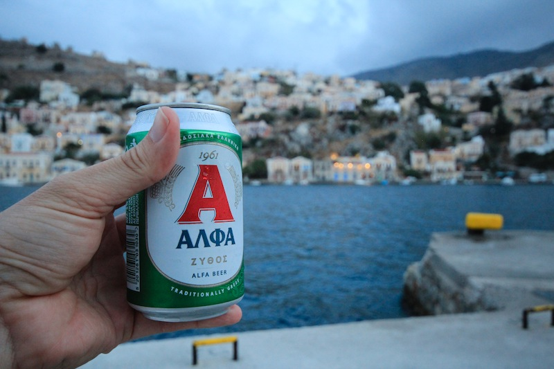 Can of beer in Symi
