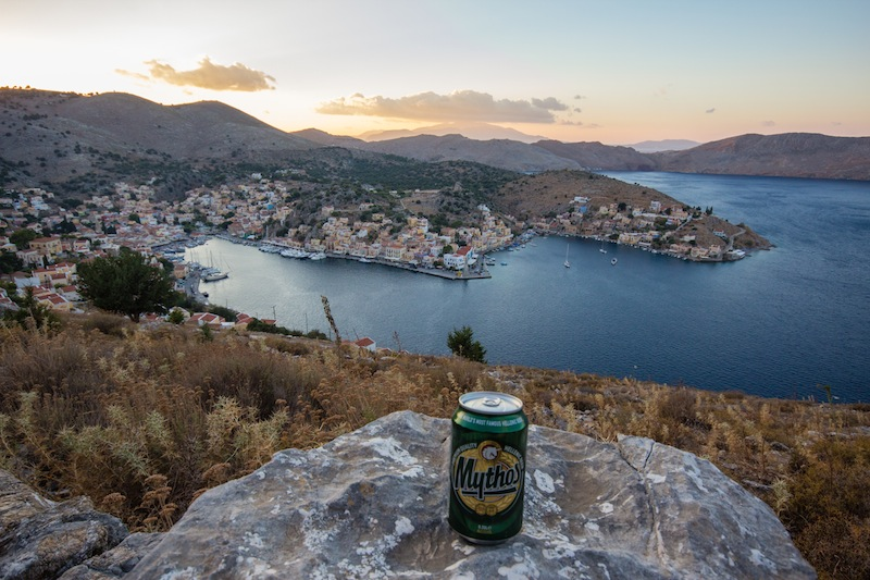 Beer an on a mountain in Symi