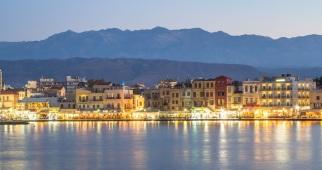 Hania waterfront at night