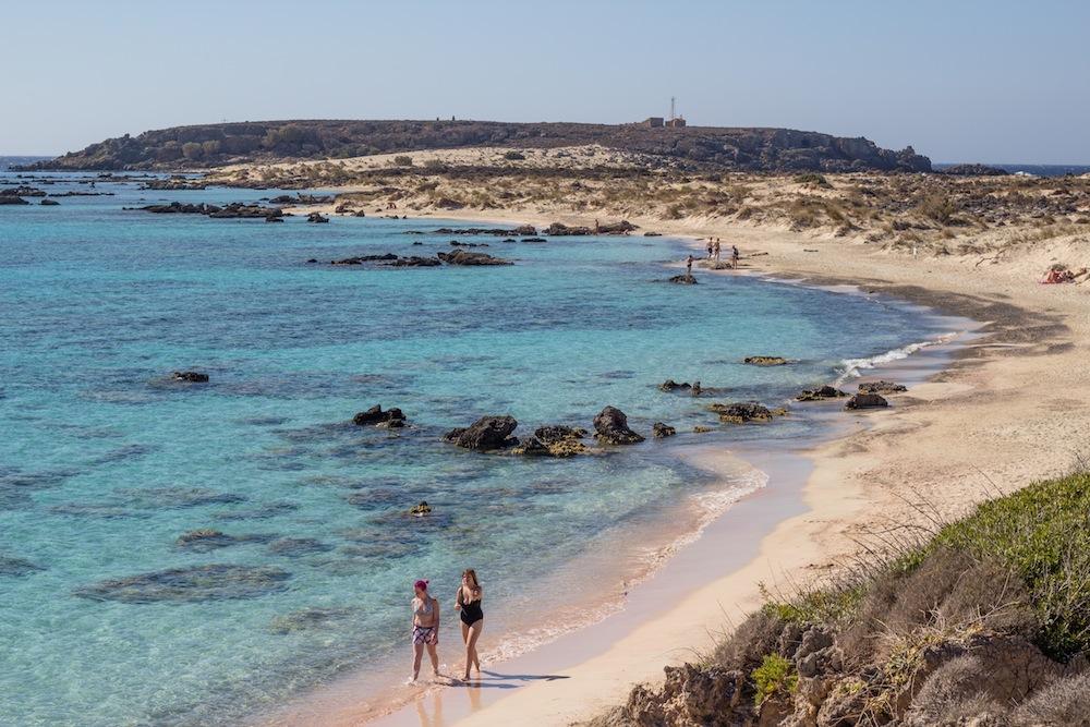 Elafonisi beach walkers