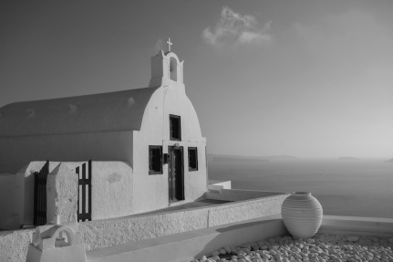 Old Church in Oia black and white