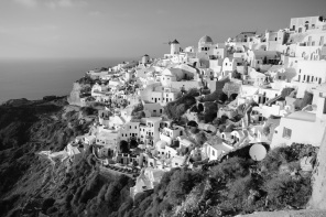 Oia in black and white.