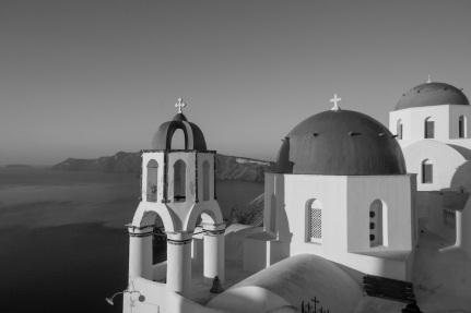 Santorini Church in black and white