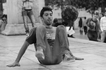 Street performer in Athens.