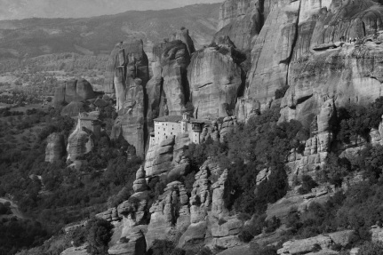Meteora Monastery in black and white.