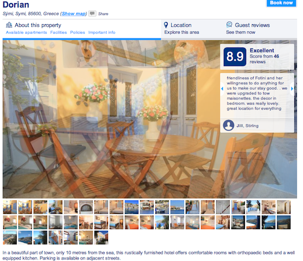 Example of page at Booking.com
