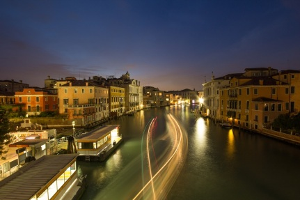 Grand Canal water taxi at night