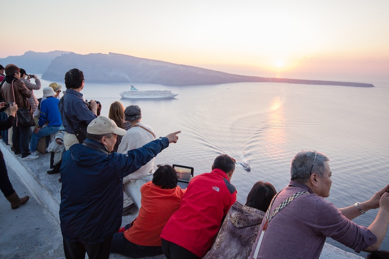 Santorini sunset with iPad