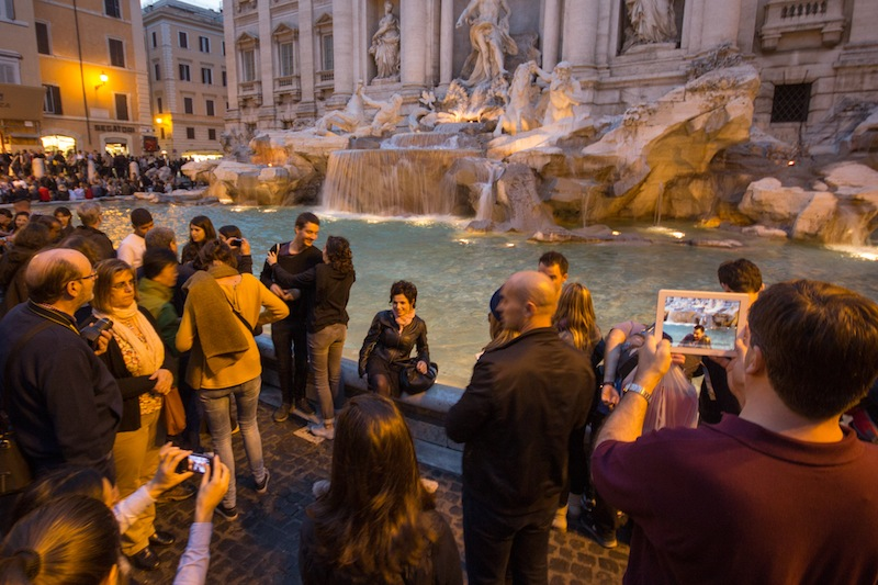 iPad at the Trevi Fountain in Rome
