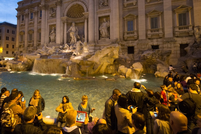 iPad at the Trevi Fountain
