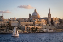 Valletta with sailboat