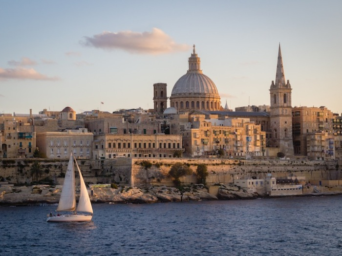 Valletta with sailboat