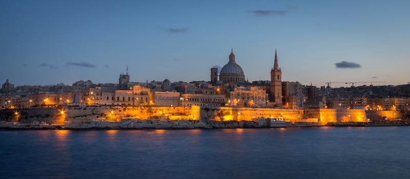 Valletta skyline at dusk