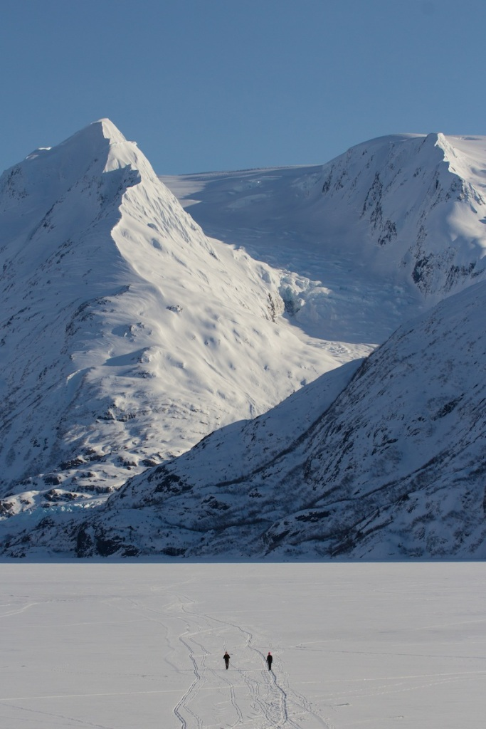 Hikers on Portage Lake in the Winter